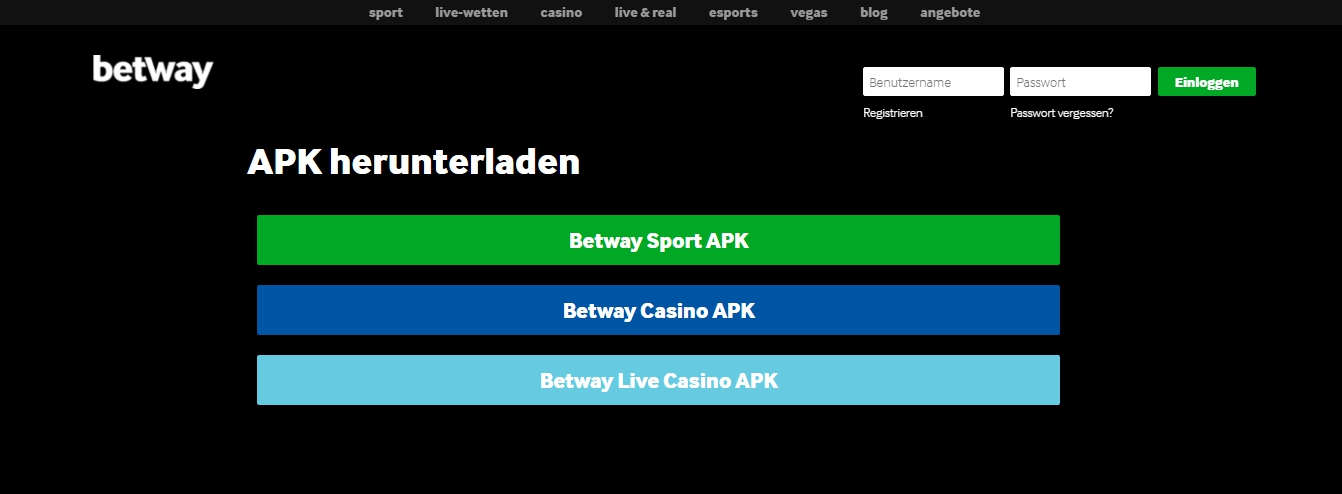mobile Interfaces Betway app