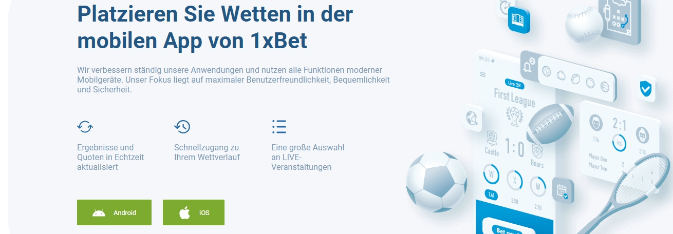 1xBet offizielle App für Android